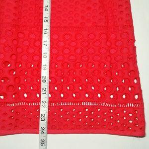 LOFT Skirts - LOFT Coral Eyelet Midi Skirt Size 4